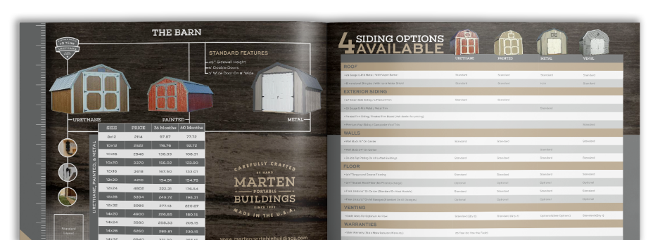Marten Portable Buildings Brochure Spread