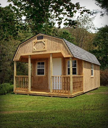 Lofted Cabin Wooded - Marten Portable Buildings Illinois