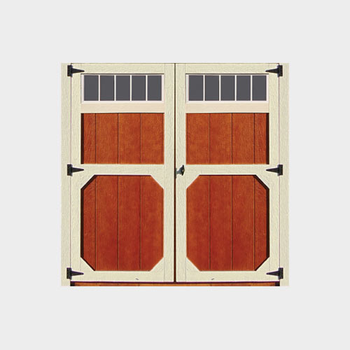 Wood Double Door W/Transom Windows