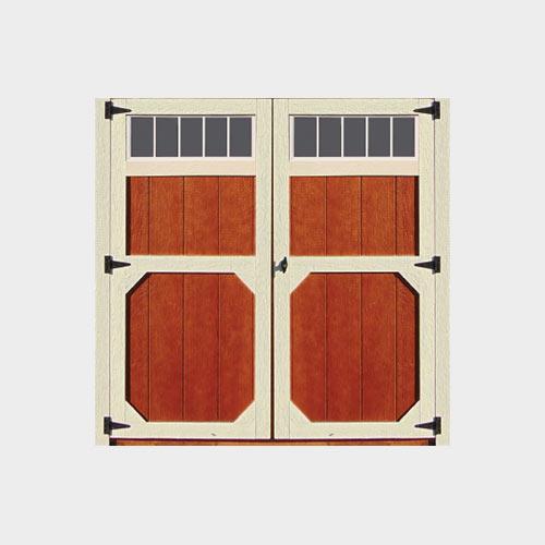 Wood Double Door W/Transom Windows